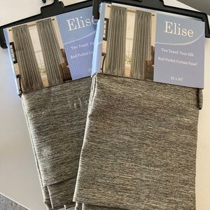 Elise Two Tone Faux Silk Curtains. Set of two